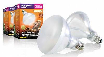 Arcadia D3 Reptile Basking Lamp 160w UV UVA UVB IR Combined Heat Light Bulb E27