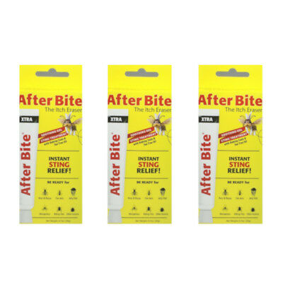 3 Pack After Bite Xtra Gel The Itch Eraser Instant Sting Relief 0.7 Oz Each
