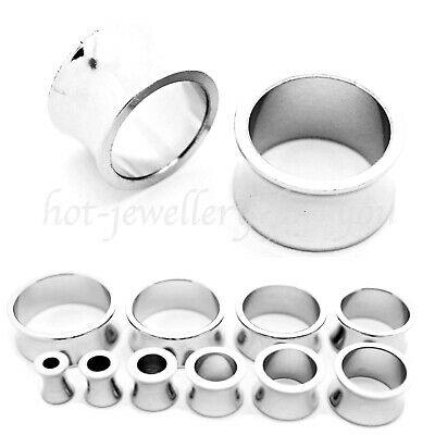 Thick Double Flared Flesh Tunnel Silver Stainless Steel Ear Plug Defender