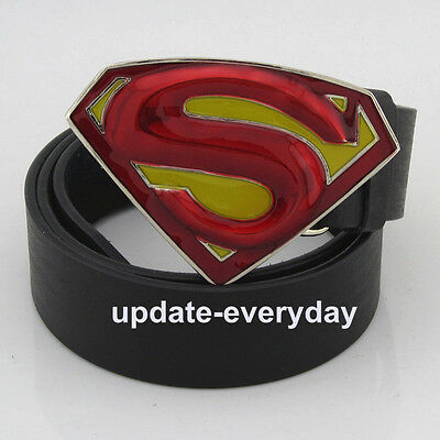 Western New Silver Fashion Superman Mens Metal Belt Buckle Leather Costume Gift