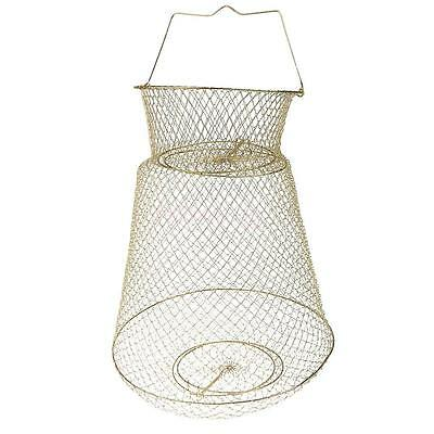 Collapsible Steel Wire Fishing Basket - Gold 38cm