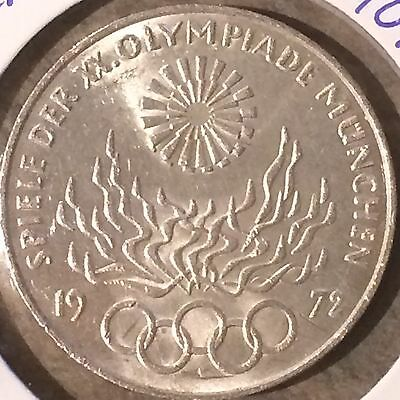 """Germany 1972  """"D"""" Munich Summer Olympics Silver Coin KM #135"""