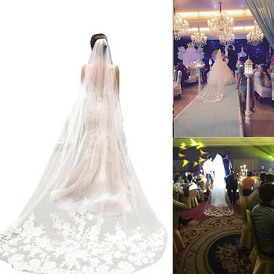 3m White Beautiful Cathedral Length Lace Edge Wedding Bridal Veil With Comb NEW