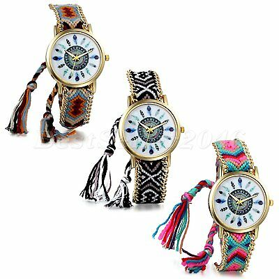 Tribal Women Girls Multi-color Braided Bracelet Feather Dial Analog Wrist Watch