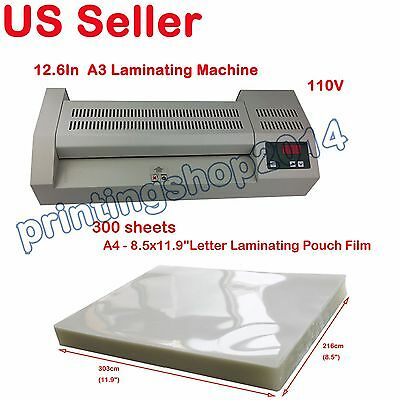 "A3 12.6""Pouch Laminator Hot Cold Machine 110V+300 sheets A4 Laminating Film"