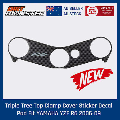 Triple Tree Top Clamp Cover Sticker Decal Pad Fit YAMAHA YZF R6 2006 2007 08 09