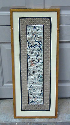 Antique Chinese Gold Stitches Embroidery Panel W / Man & Woman Figures On Garden