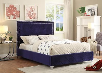 Meridian Hampton Queen Size Bed Upholstered Navy Velvet Chic Contemporary Style