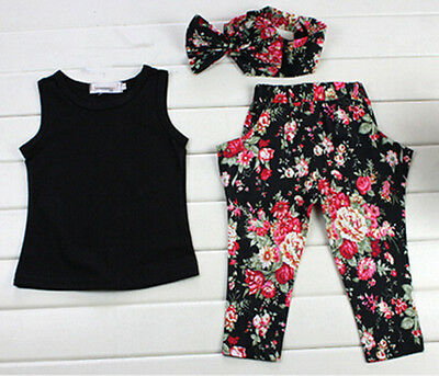 Set  +T-shirt Headband Toddler Kids Clothes +Floral Pants Outfits Infant Girls