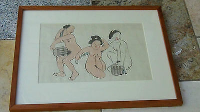 EARLY 20c JAPANESE SHUNGA WOODBLOCK PRINT GALLERY FRAMED  # 2 out of 8