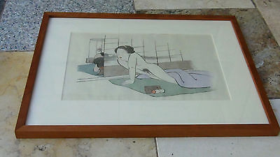 EARLY 20c JAPANESE SHUNGA WOODBLOCK PRINT GALLERY FRAMED  # 7 out of 8