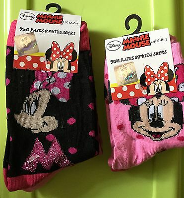 2 Pk Girls Disney Socks with Minnie Mouse Detail