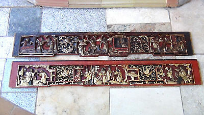 PAIR ANTIQUE19c CHINESE WOOD CARVED PIERCED GILT TEMPLE PANELS OF COURT SCENE