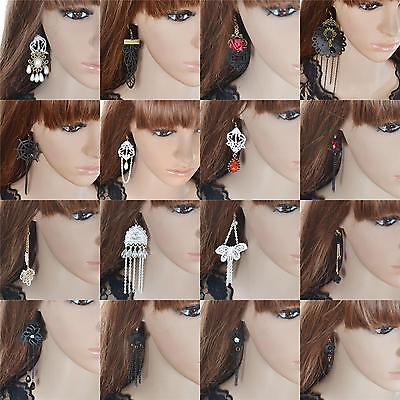 women fashion vintage Long lace hook dangle bridal gothic Victorian earrings