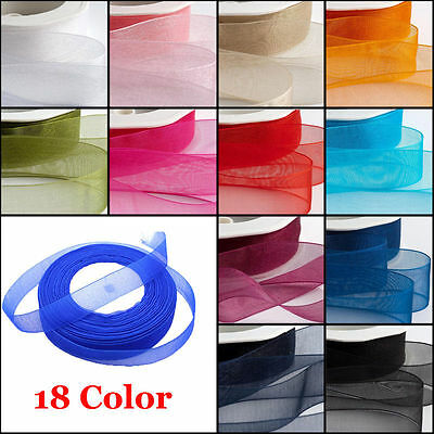 20 METRES WOVEN EDGE ORGANZA RIBBON 7mm, 12mm, 25mm, 38mm various colours B078
