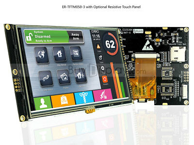 """5""""5.0 inch WVGA 800x480 TFT LCD Module Touch Display,I2C,Serial SPI w/Tutorial"""