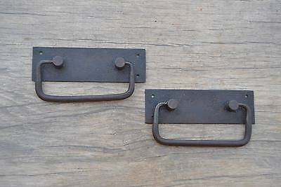 VINTAGE Iron handforged Drawer Chest drop lifting handle w back plate 4""