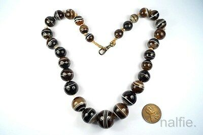 ANTIQUE VICTORIAN PERIOD ENGLISH BANDED AGATE ORB BEAD NECKLACE c1870