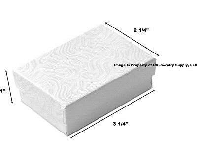 1000 White Swirl Cotton Filled Jewelry Packaging Gift Boxes 3 1/4 x 2 1/4 x 1