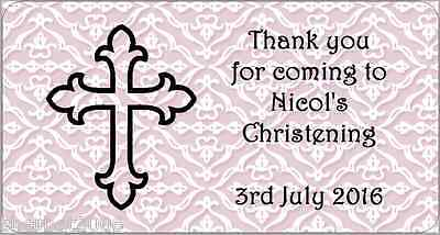 24 x Personalised Stickers Christening Cross Pink Labels