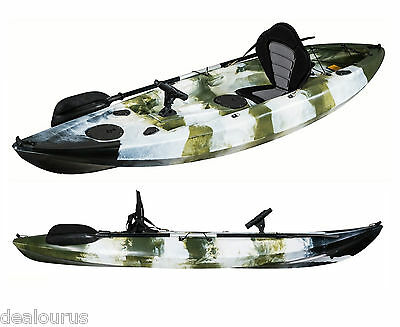 Fishing Kayak Sit-on Green Kayak with 5 Rod Holders Deleuxe Padded Seat  Paddle