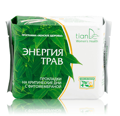 TianDe Herbal Energy Day Phyto-Membrane Sanitary Pads, 8 pcs.