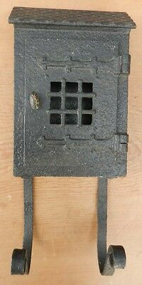 Antique Cast Iron Mailbox - Jail Cell Door - with Newspaper Rack B1
