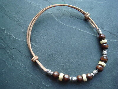Natural leather cord anklet wood & Tibetan silver Aztec tube beads surfer beach