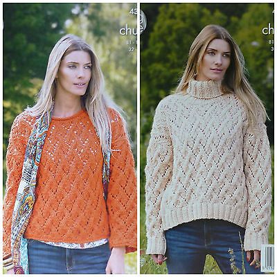 KNITTING PATTERN Ladies Long Sleeve Round Neck Lacy Jumper Chunky King Cole 4385