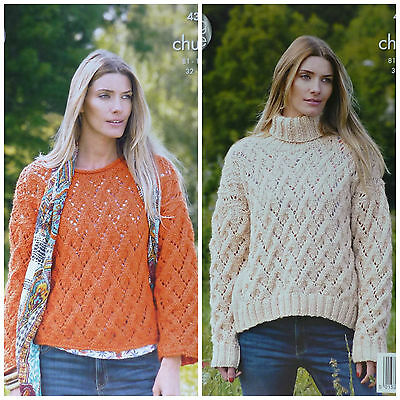 KNITTING PATTERN Ladies Scoop Neck or Polo Neck Jumper Drifter DK King Cole 4957