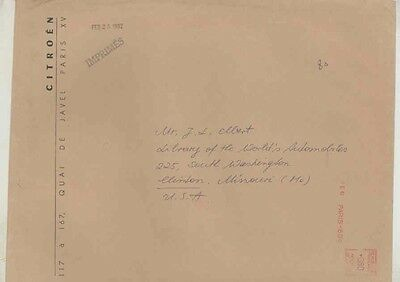 1962 Citroen France ORIGINAL EMPTY Factory Mailing Envelope wv9668