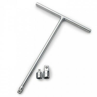 """Neiko 3/8"""" T-Handle Long Reach Wrench w/ 2 Adapters"""