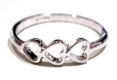 18K Gold & White Gold Plated Three Heart Ring Various Sizes