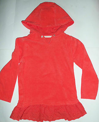 Girls Orange Towelling Robe with Hood & Broider Angliais Trim. for Beach or Bath