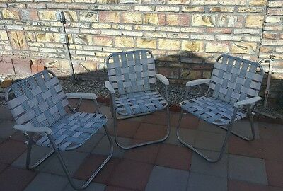 3 Vintage Aluminum Frame Woven Folding Lawn Chairs Blue/White Webbed As Is