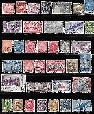 35 Used 1920 - 1940 USA Postage Stamps All Different. All Over 75 Years Old!