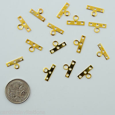 End Bar Flat  3 Hole  (15) Gold Metal Jewellery Making Connectors Findings new
