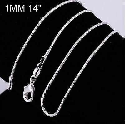 14'' 925 Sterling Silver 1MM Classic Choker Style Snake Necklace Chain Wholesale