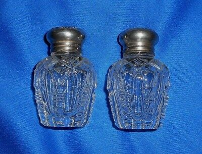 Pair Antique Wilcox & Wagoner NY Sterling & Cut Crystal Salt & Pepper Shakers