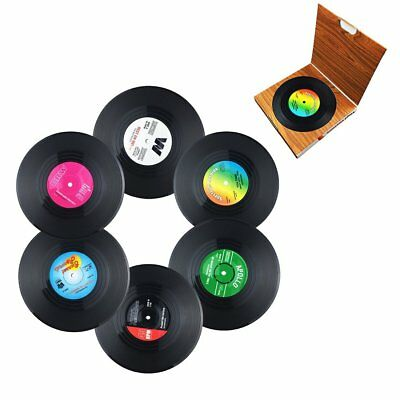 6 Vinyl Style Drinks Coasters Place Mats Set Retro Vintage Record Discs