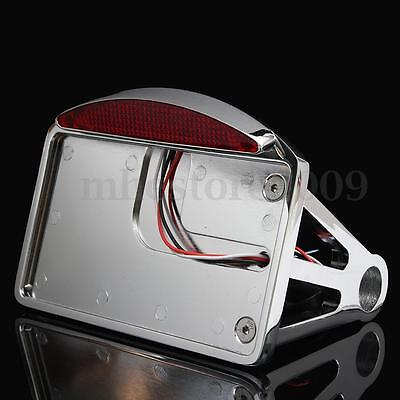 Motorcycle Horizontal Side Mount License Plate LED Tail Light Bracket For Harley