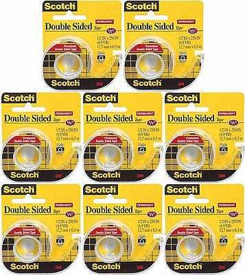 Scotch 3M Double-Sided Tape with Dispenser Clear (Pack of 8) 1/2 X 250 Inches