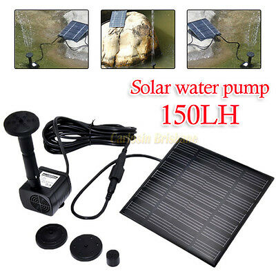 Fountain Submersible Water Power Solar Pump Garden Pond Pool Feature Kit Panel
