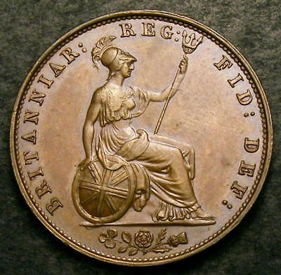 1838  Great Britain Queen Victoria Copper Half Penny Coin.