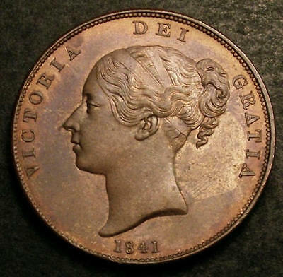 1841 UNC Queen Victoria Penny Coin CGS 78. Spink £875 in UNC Condition.