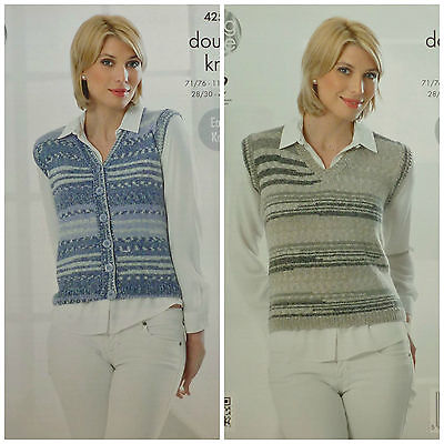 KNITTING PATTERN Ladies Easy Knit Sleeveless Waistcoat & Top Drifter DK 4255
