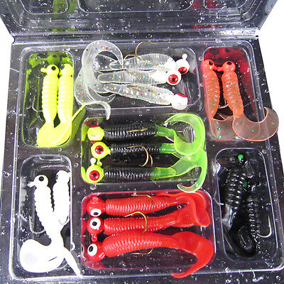 17Pcs Worm Soft Fishing Baits Lure Lead Jig Head Hooks Simulation Lures Tackle