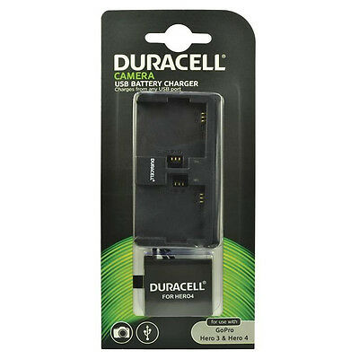 Duracell GoPro Hero 3 & 4 Dual Bay Charger with 1 Hero 4 Battery New Uk DRUCGPH4