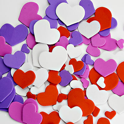 Foam Heart Stickers Pack of 65 Bright Colours Self Adhesive