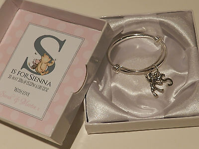 Baby Girl Bangle Teddy & Name Intial charms keepsake in personalised box